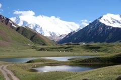 Da liegt es, unser Ziel für die nächsten Nächte! Das Jurtencamp am Fuße des Peak Lenins, den man am Ende des Tals sehen kann.