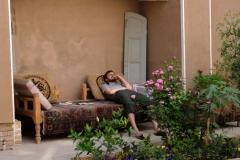 Angekommen in Kashan! Der Mittagshitze entfliehen wir im Schatten unseres Hotelinnenhofs.