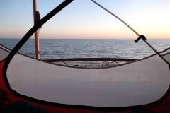 Herrlicher Ausblick aus unserem Zelt am nächsten Morgen