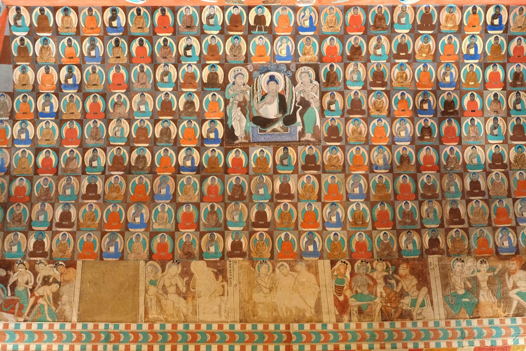 In Turpans Museum gint es einige spannende Exponate zu sehen. So wie diese Nachbildung einer reich verzierten Buddha-Höhle aus dem 5. Jahrhundert.