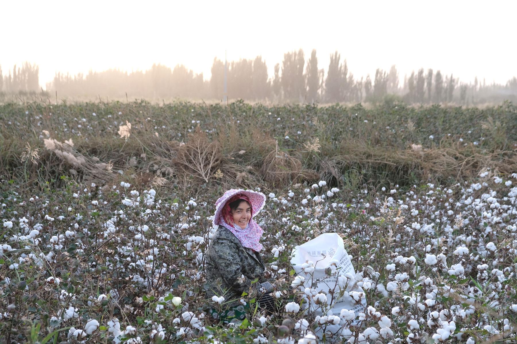 Eine der Pflückerinnen inmitten der Baumwolle