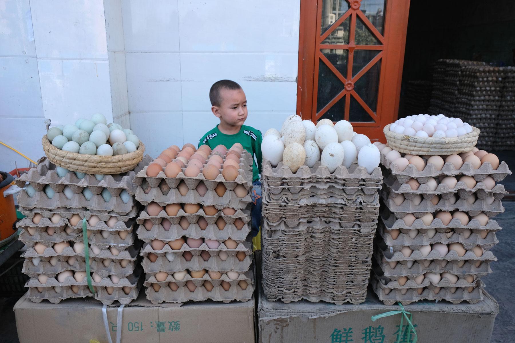 Große Eier, kleine Eier, weiße Eier, braune Eier, grüne Eier...