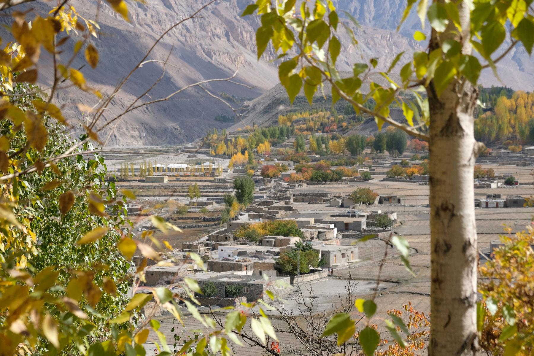 Das Gebirgsdorf Shimshal von oben