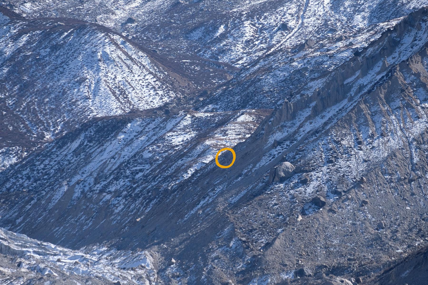 ...und erkennt bloßen Auges (!) die weitentfernten Wanderer, die noch näher an den Nanga Parbat heran möchten. Wir können sie nur Dank Tele-Objektiv und Zoom ausmachen...