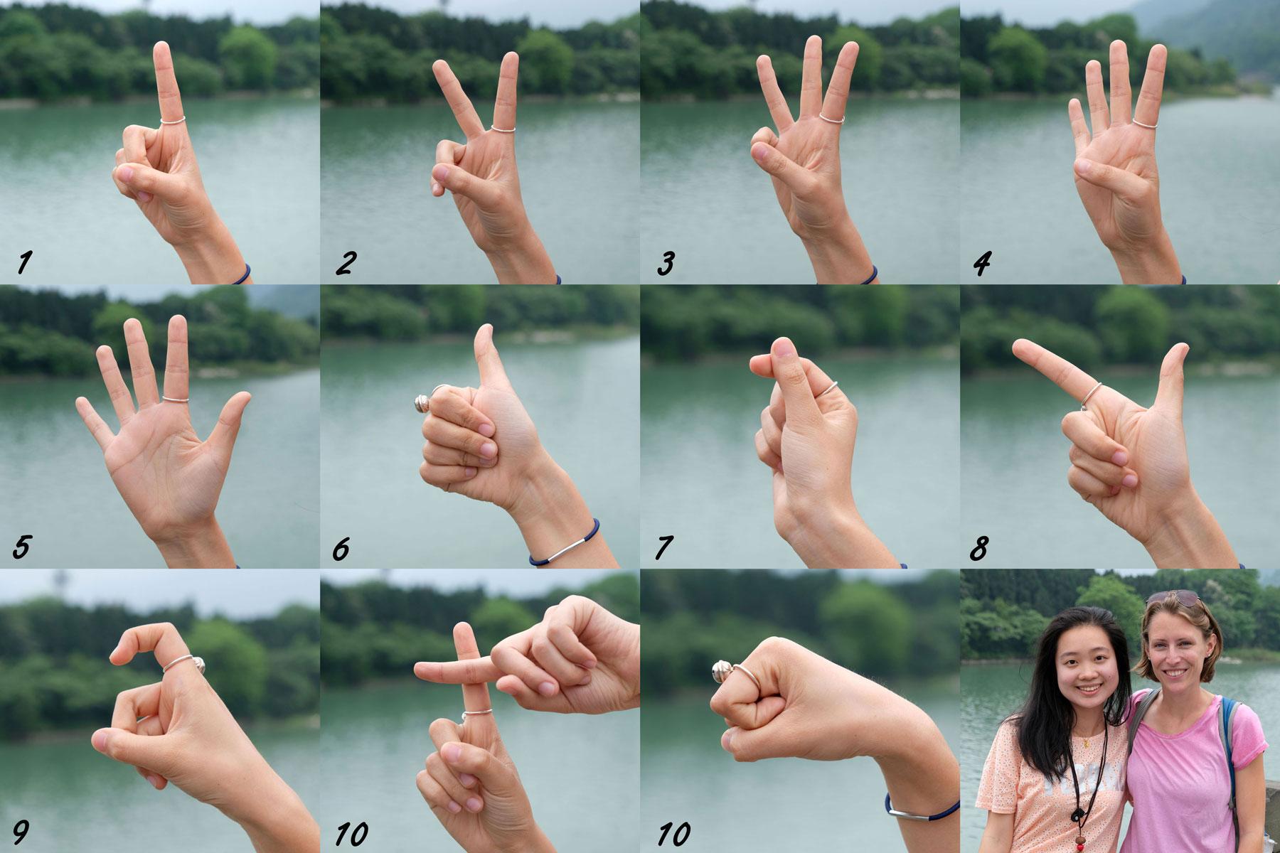 Wenn es keine gemeinsame Sprache mehr gibt, werden die Finger zu einer großen Hilfe. Doch zählt man hier anders (und wir glauben, regional auch unterschiedlich). Danke aus Nancy aus Chongqing, die uns die dort üblichen Zahlen von 1-10 gezeigt hat. Die 10 gibt es übrigens in zwei Varianten, wobei uns die erste häufiger begegnet.