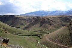 ...und blicken auf die bergige und frühlingshaft grüne Landschaft.