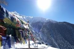 Tibetische Gebetsfahnen wehen in der frischen Morgenluft