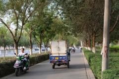 Auf dem Gehweg müssen wir aufpassen, um nicht von den flüsterleisen Elektrofahrzeugen überfahren zu werden