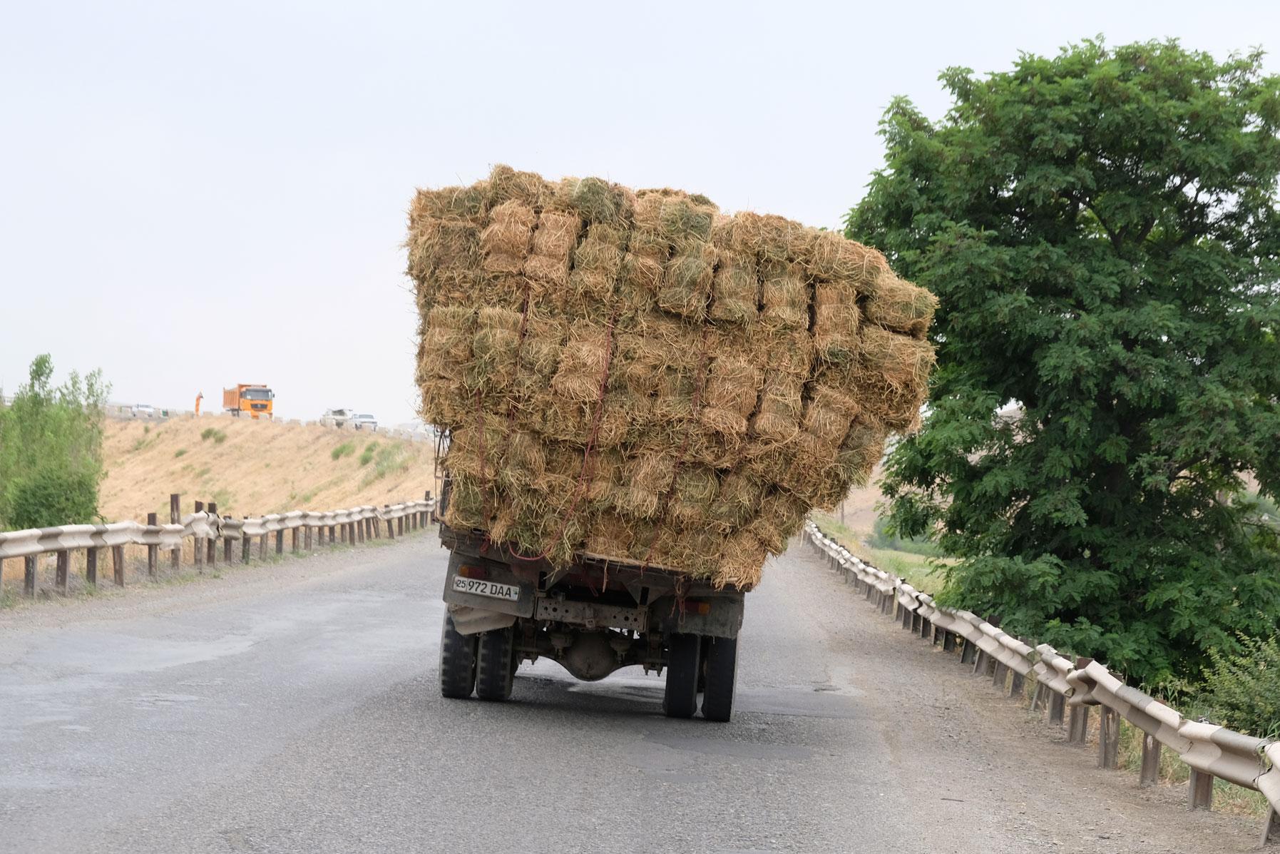 Mit Heu beladener Lastwagen auf einer Straße