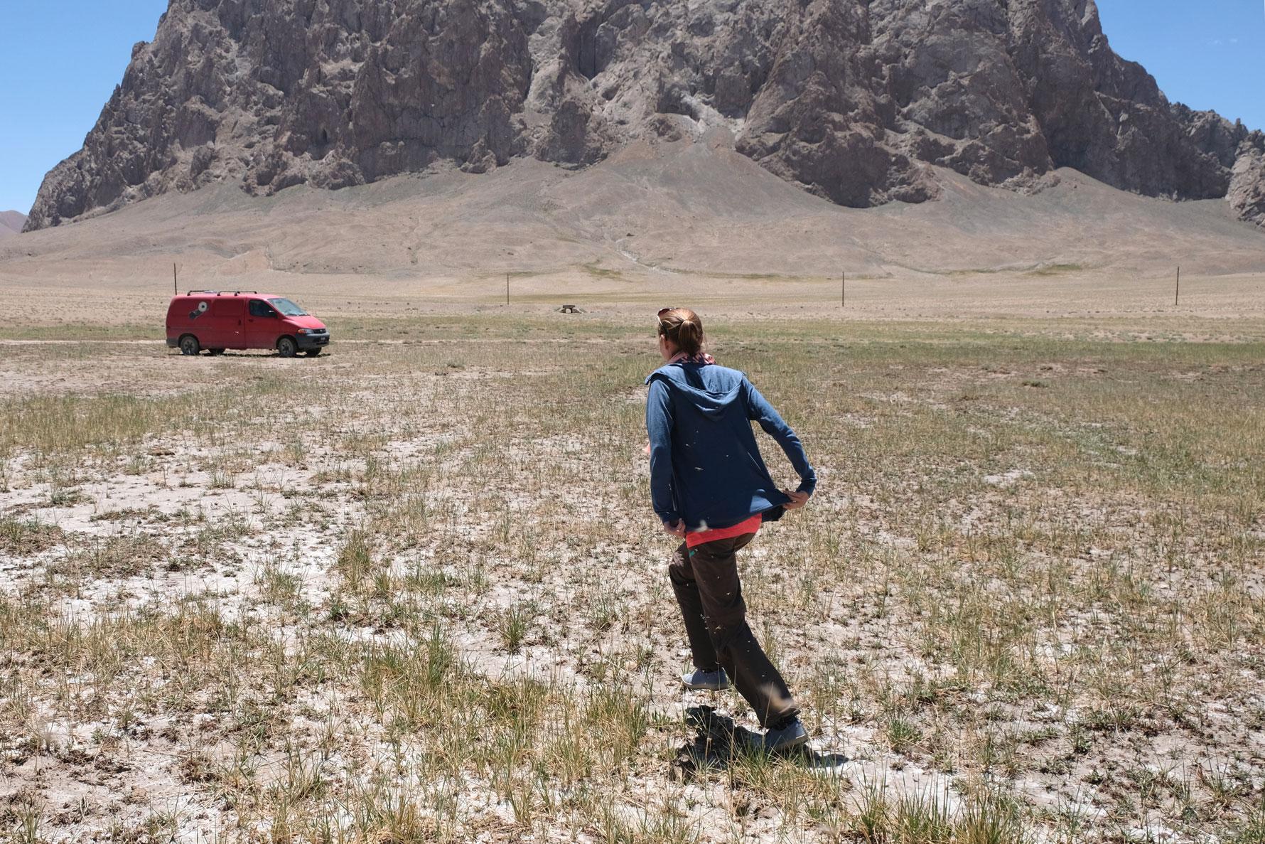 Leo flieht vor Stechmücken in Richtung eines Kleintransporters.