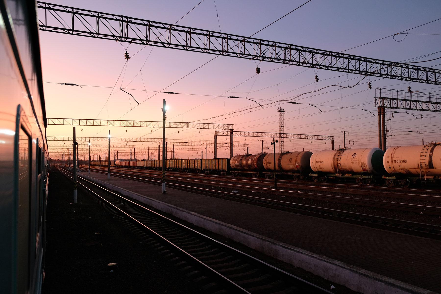 Güterbahnhof in Kasachstan.