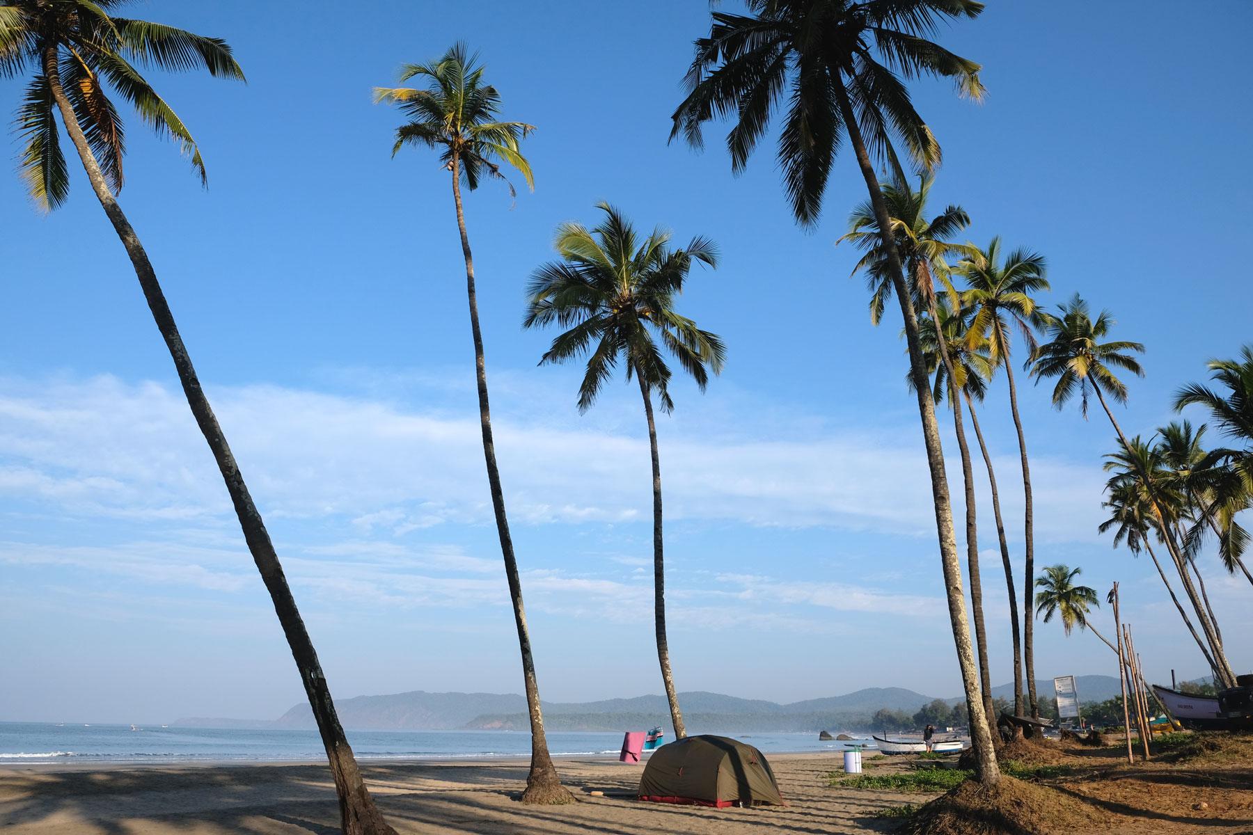 Ein Zelt steht unter Palmen am Strand von Agonda in Goa.