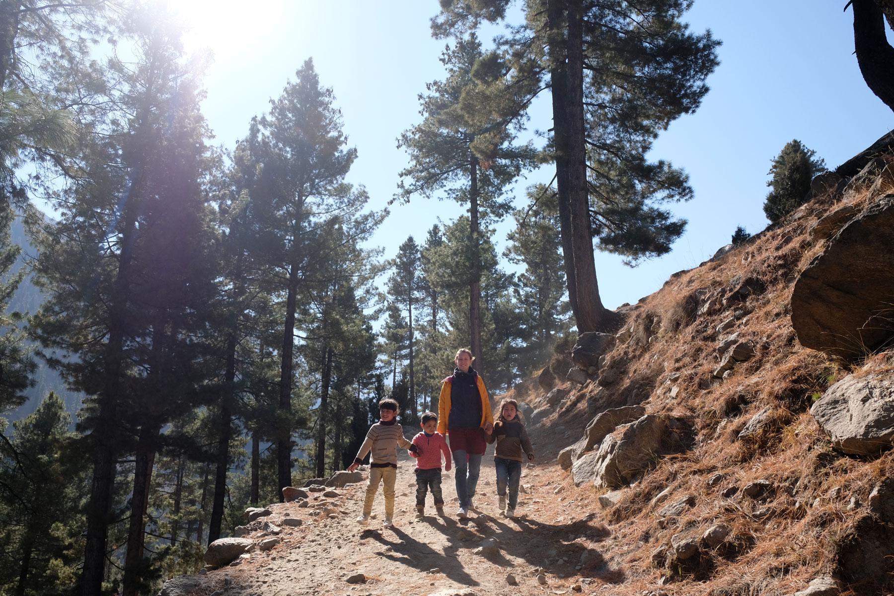 Leo geht mit Kindern an der Hand auf einem Waldweg bei Astore.