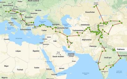 Landkarte, die eine Reiseroute darstellt.