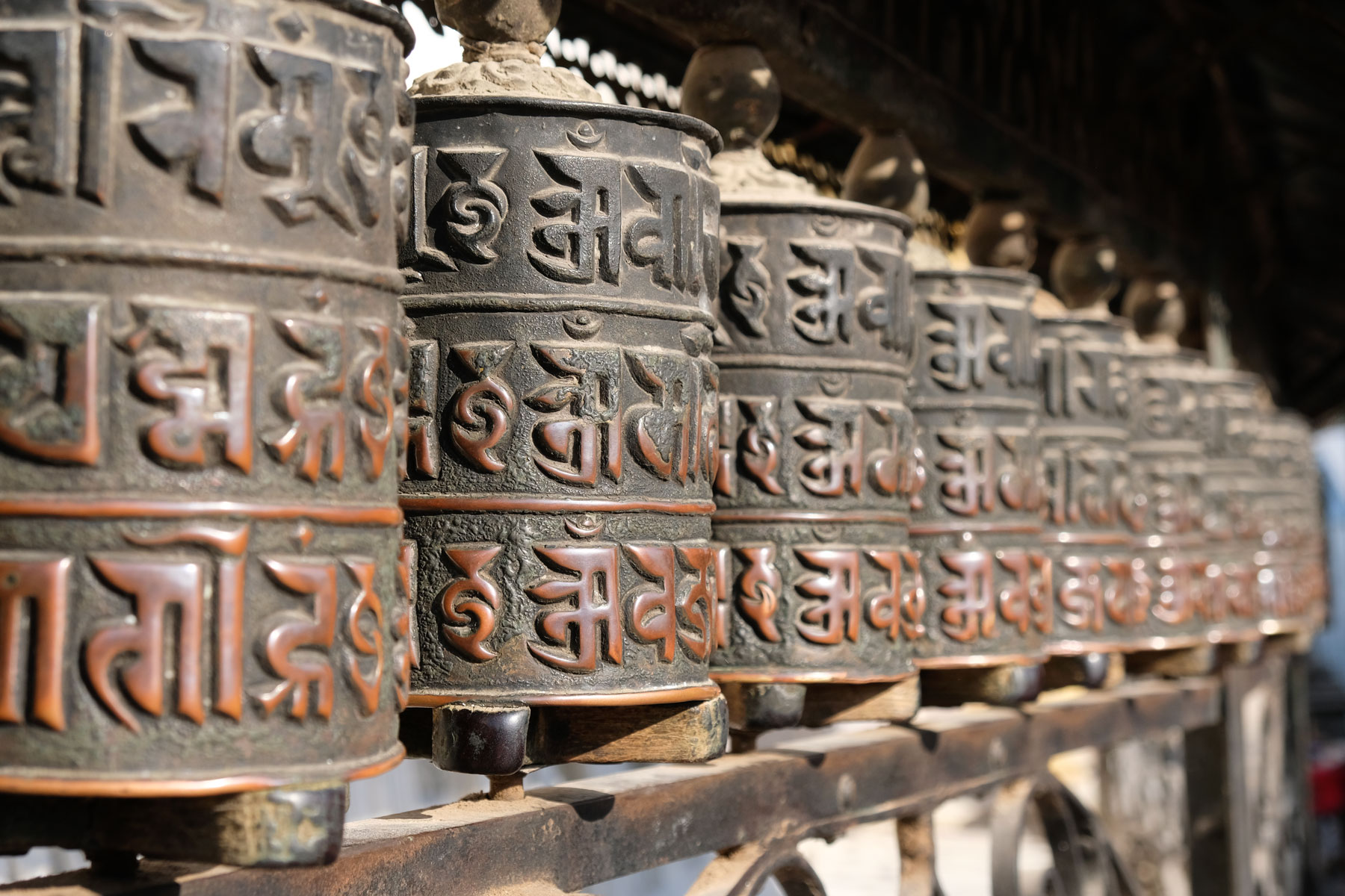 Gebetsmühlen in Swayambhunath.