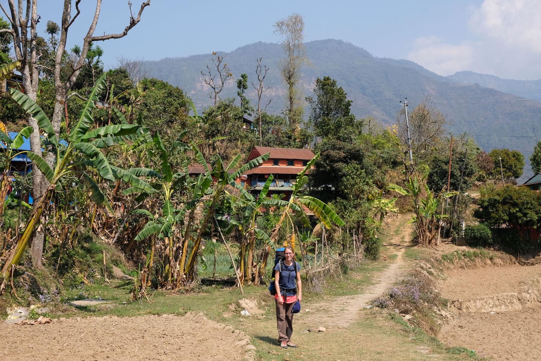 Leo vor Bananenpalmen auf dem Wanderweg des Annapurna Circuit.