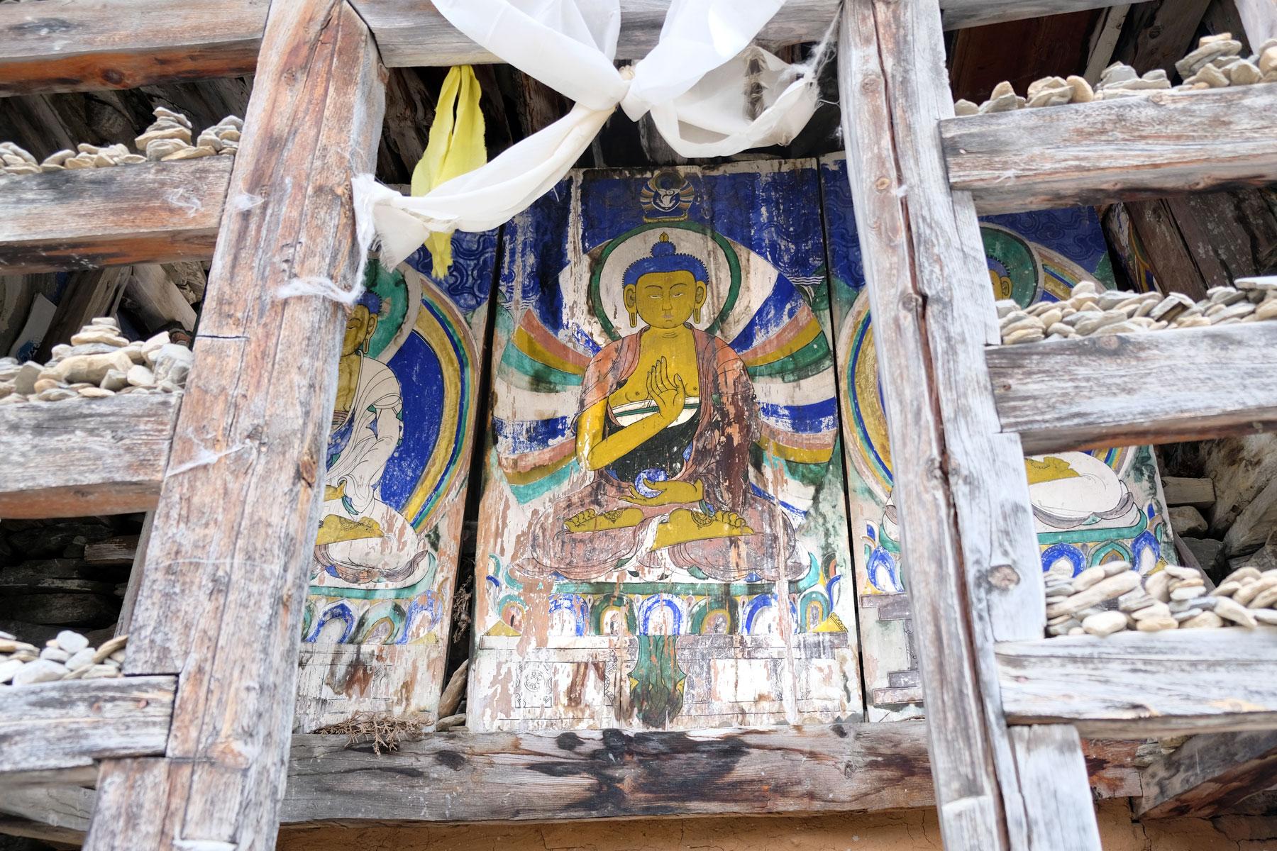 Buddhistisches Wandgemälde.