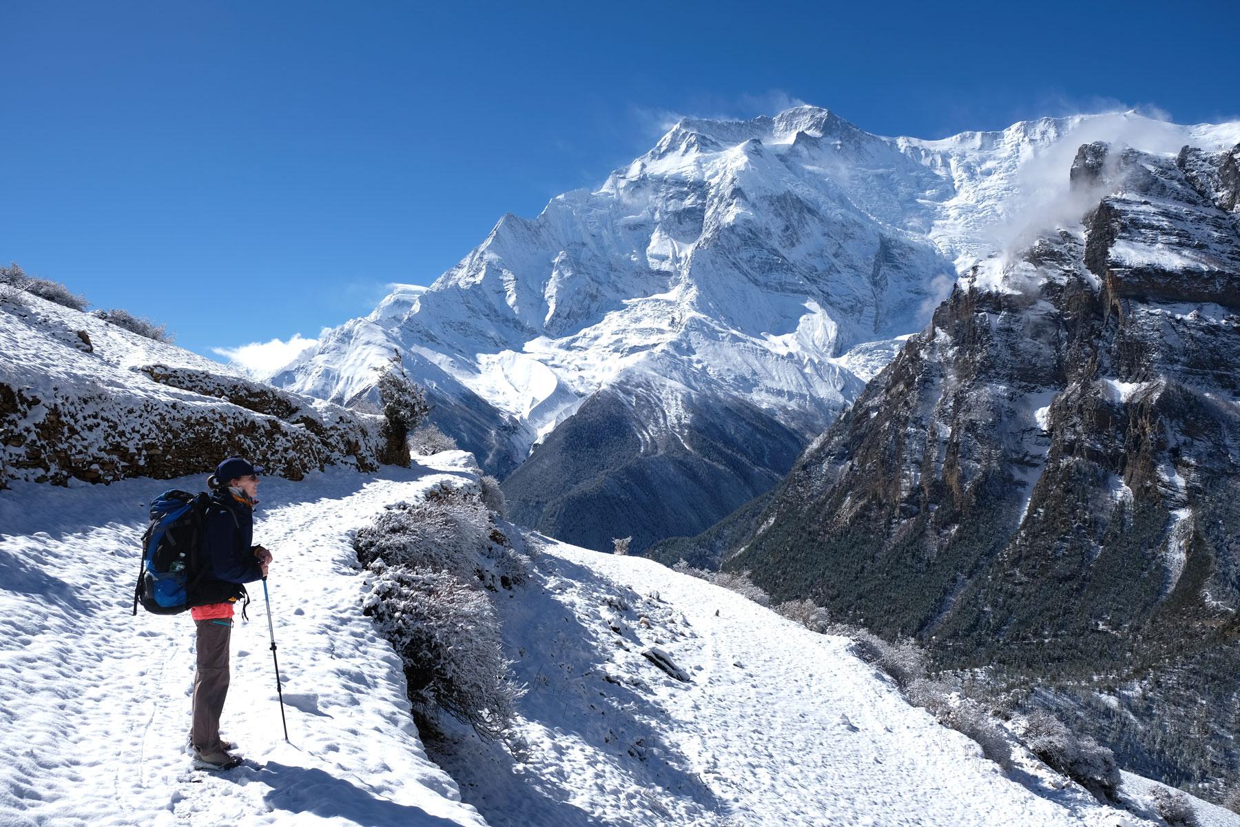 Leo auf einem verschneiten Wanderweg in den Bergen des Annapurnagebirges.