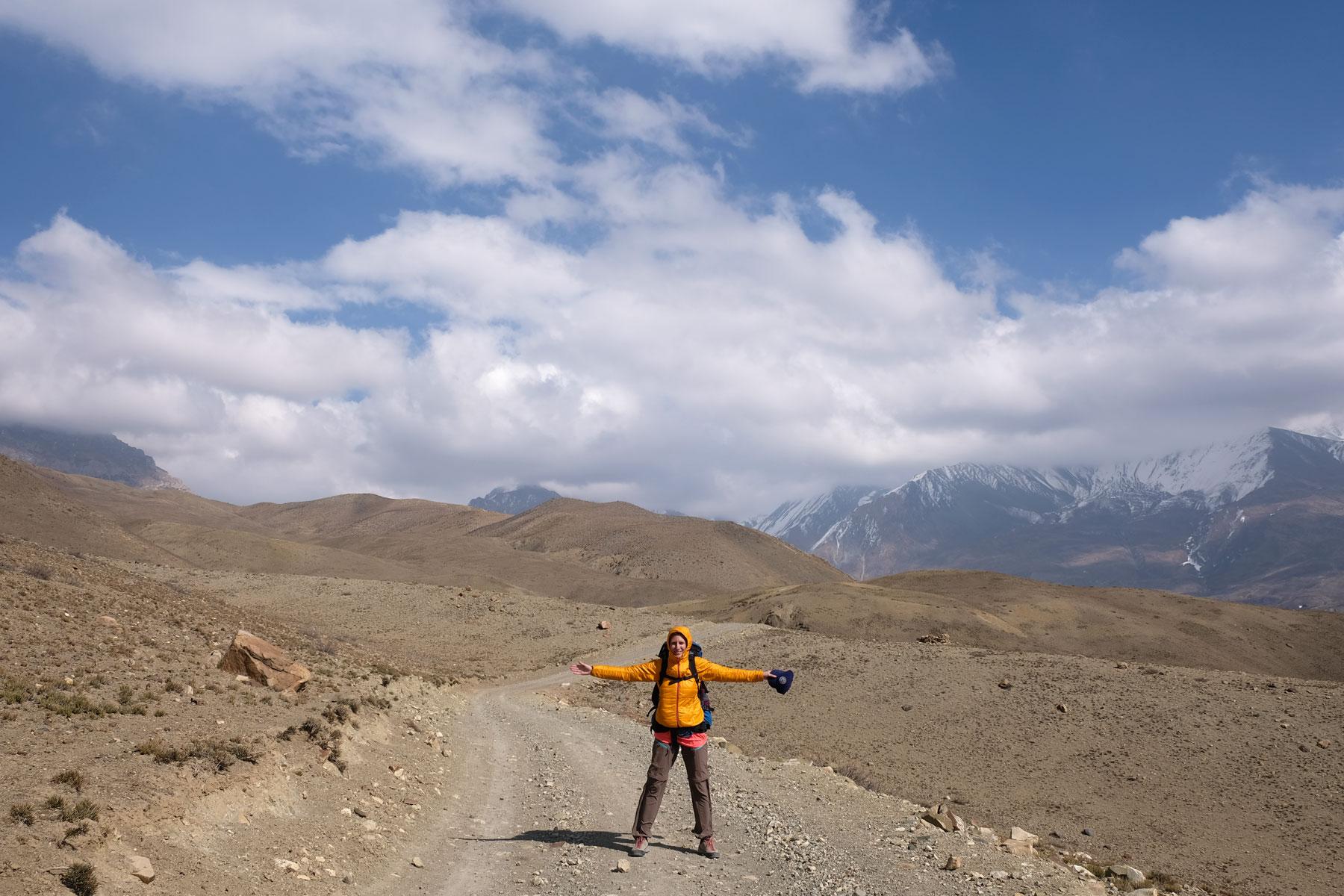 Leo im Wind auf dem Annapurna Circuit.