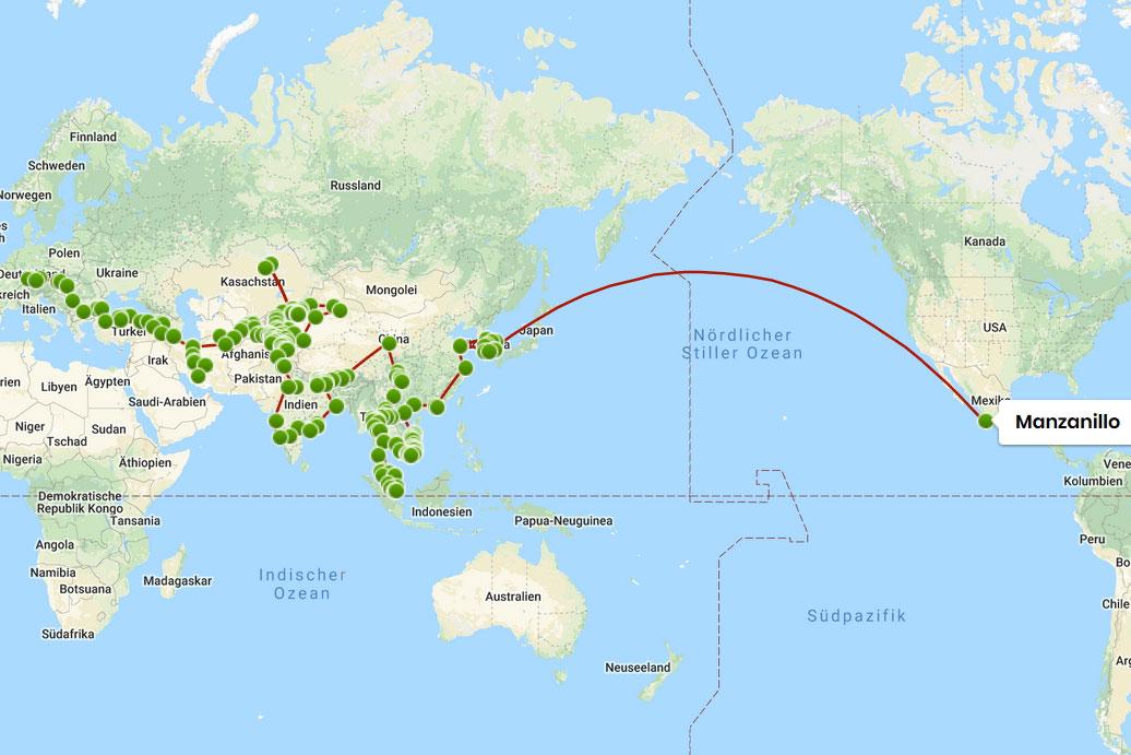 Eine Landkarte, auf der eine Reiseroute von Deutschland bis Mexiko eingetragen ist.
