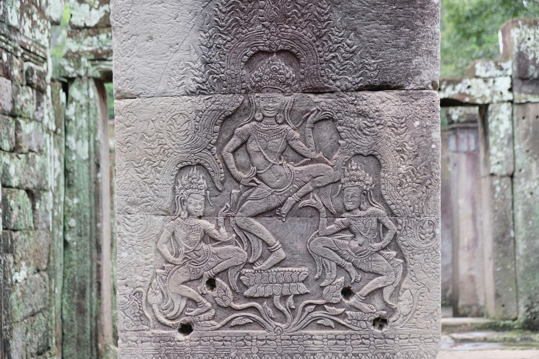 Ein Steinrelief in Bayon, Angkor Wat