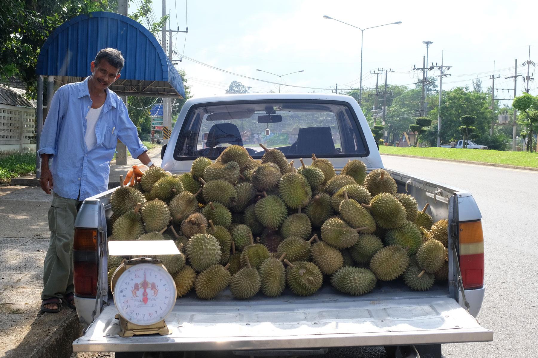 Ein Mann verkauft Durian von der Ladefläche seines Autos.