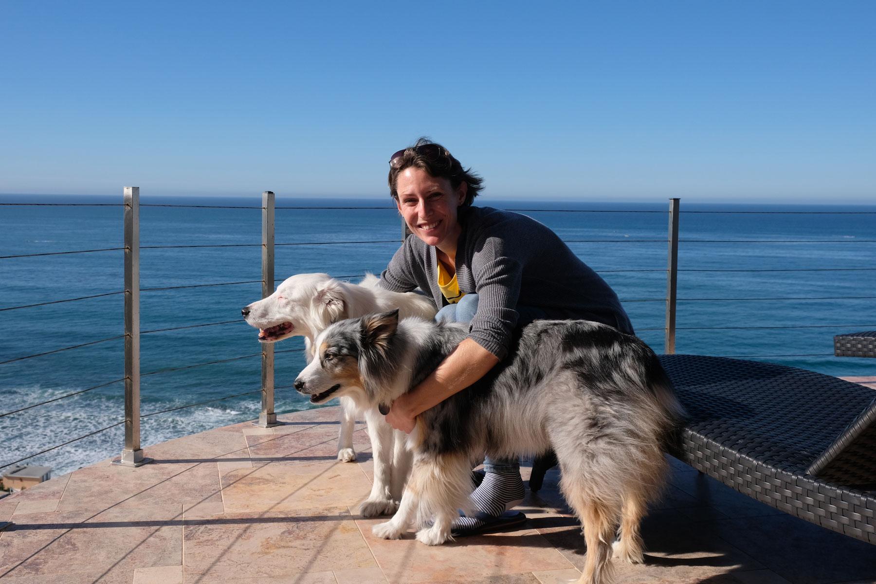 Leo beim House Sitting mit zwei Hunden auf einem Balkon am Meer.