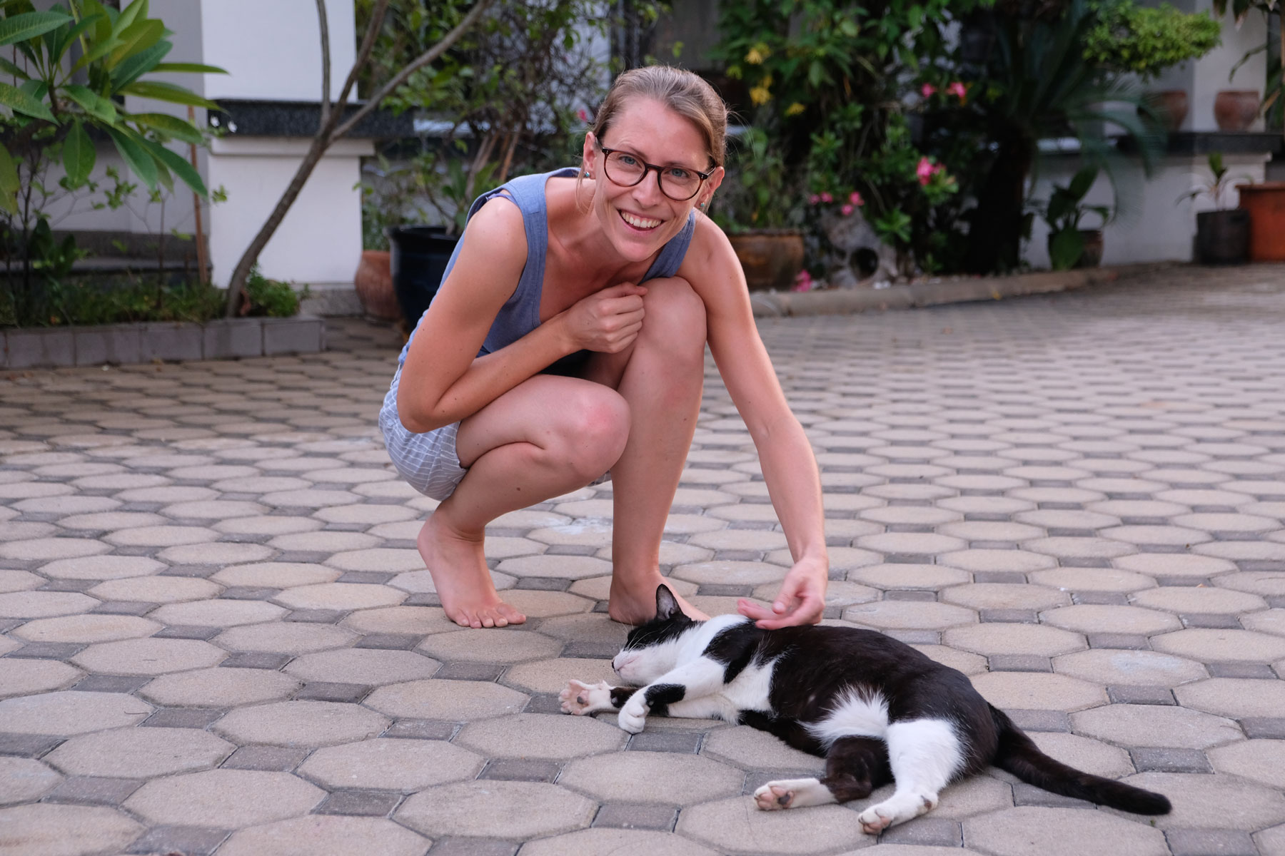 Leo streichelt beim House Sitting in Bangkok eine Katze.