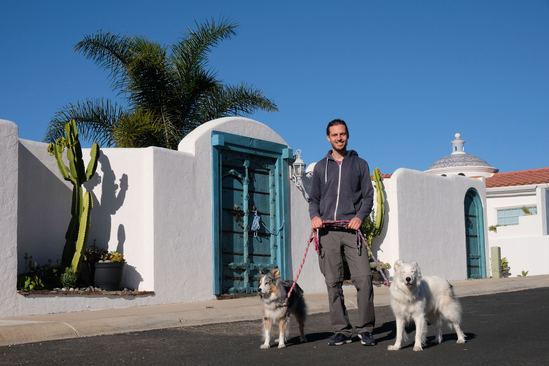 Sebastian geht beim House Sitting in Mexiko mit zwei Hunden Gassi.