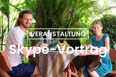 Werbung für einen Skype-Vortrag am 11.04.2019 im Rahmen der Asien-Tage in Augsburg.
