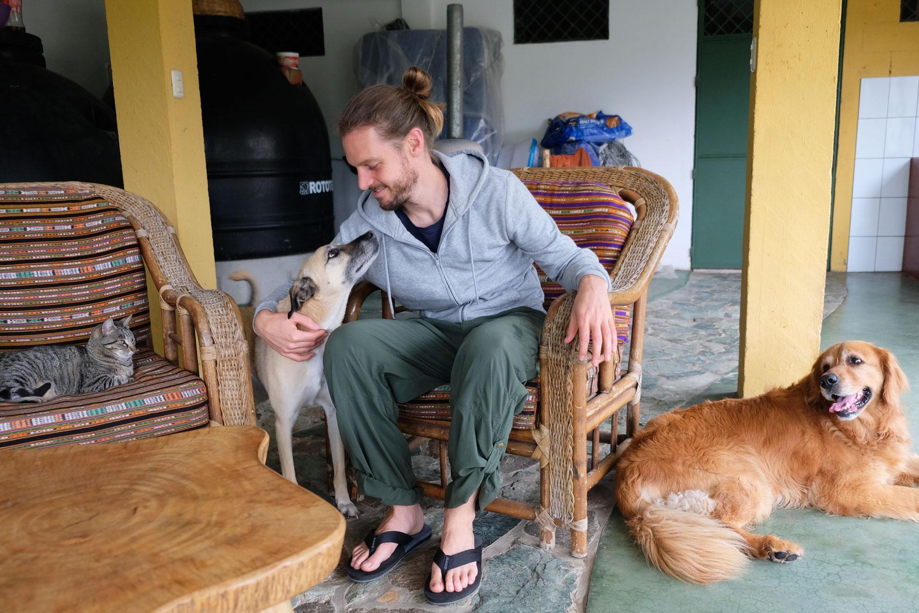 Sebastian sitzt beim Housesitting in Guatemala mit unseren Tieren zusammen.