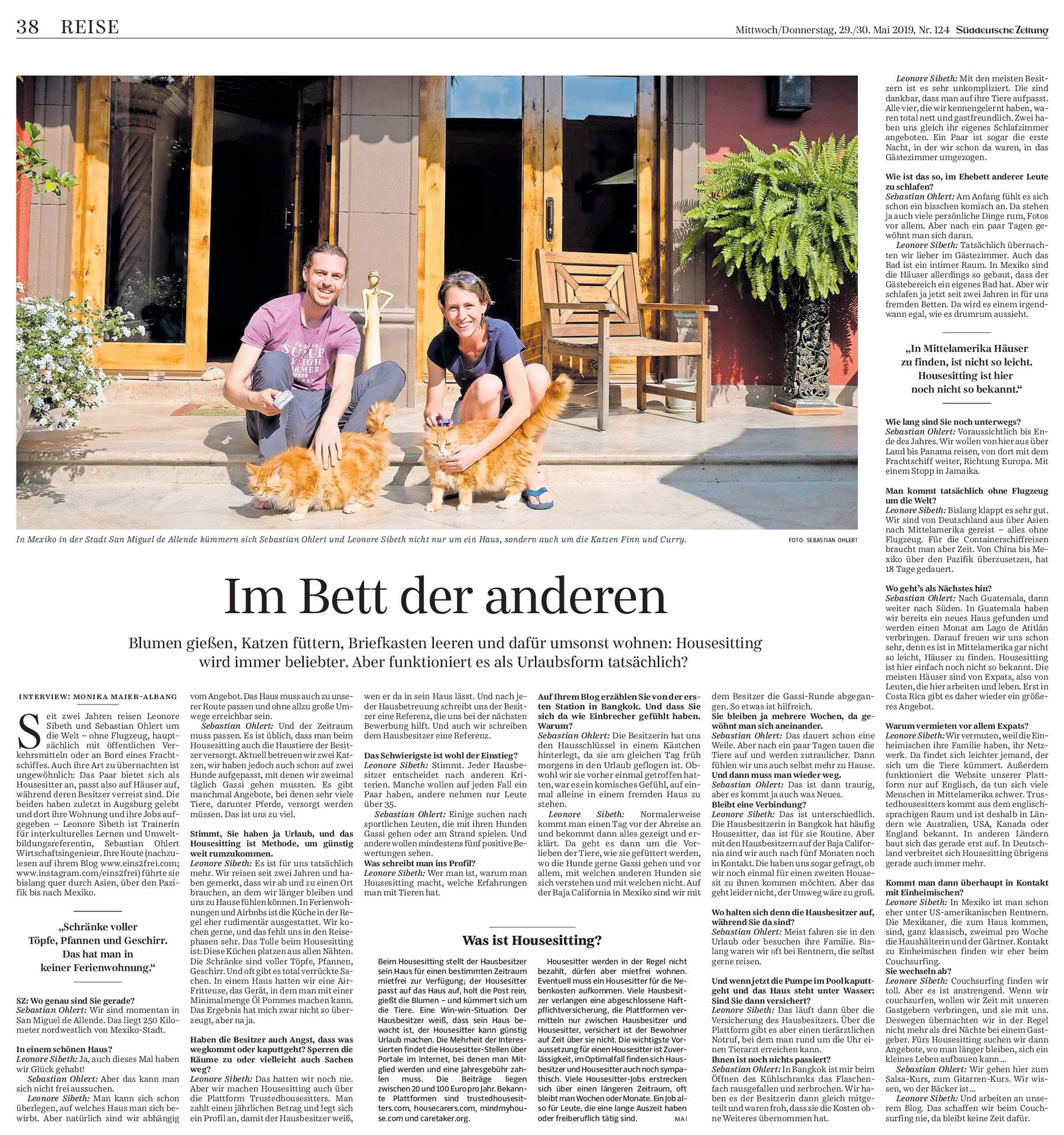 In der Süddeutschen Zeitung erscheint ein Interview mit Leo und Sebastian über House Sitting.