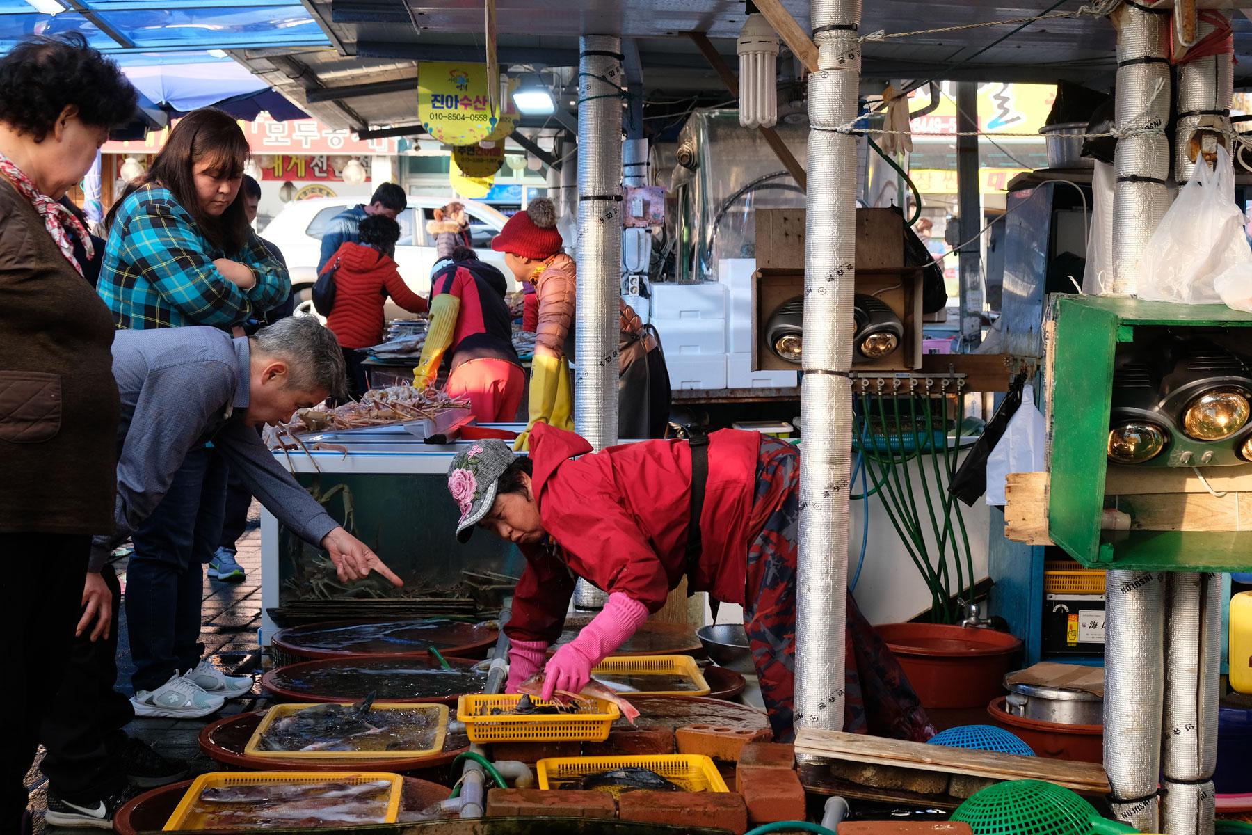 Menschen verkaufen und kaufen Fisch in Ganggu in Südkorea.