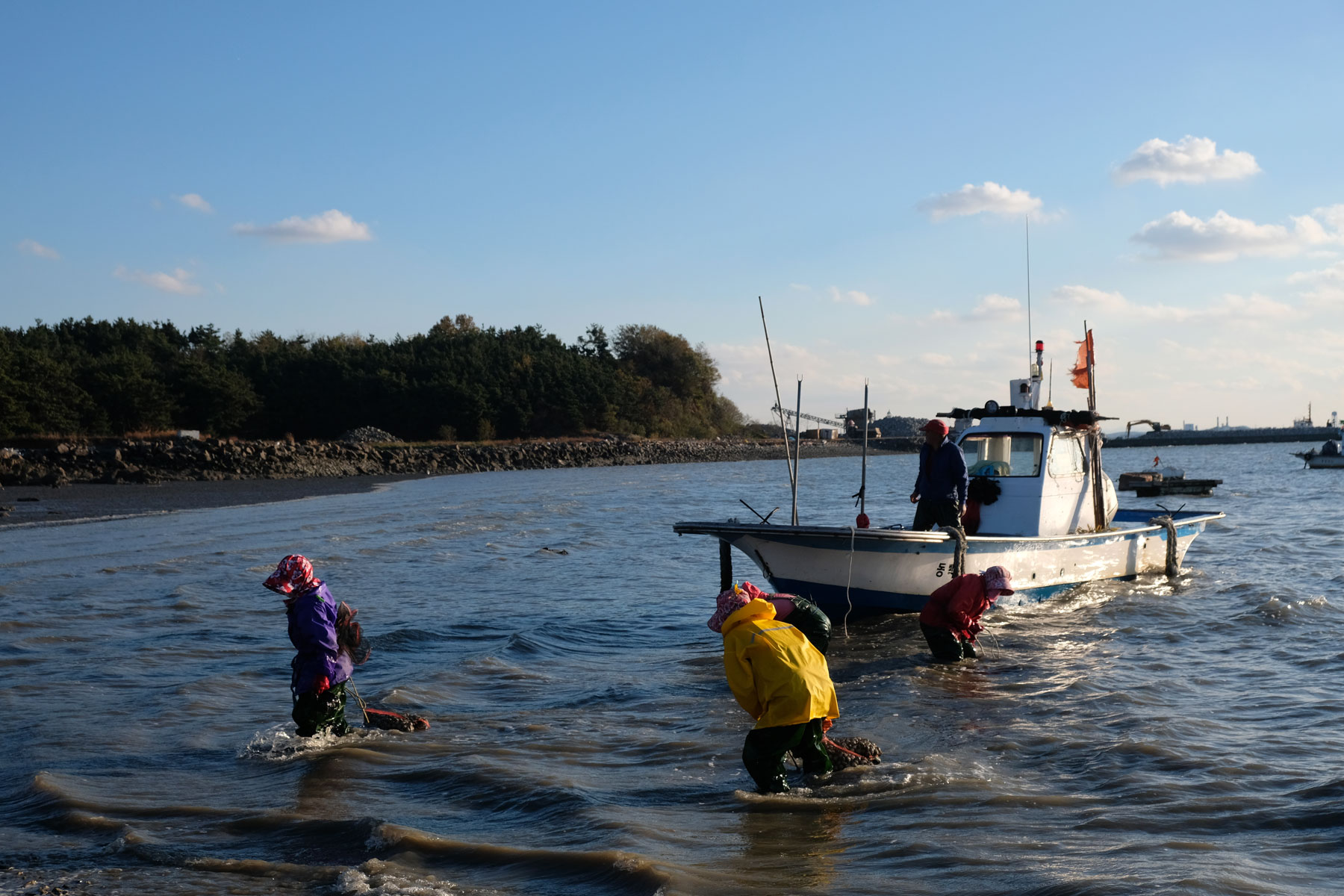 Muschelsammlerinnen bringen ihren Fund an den Strand.