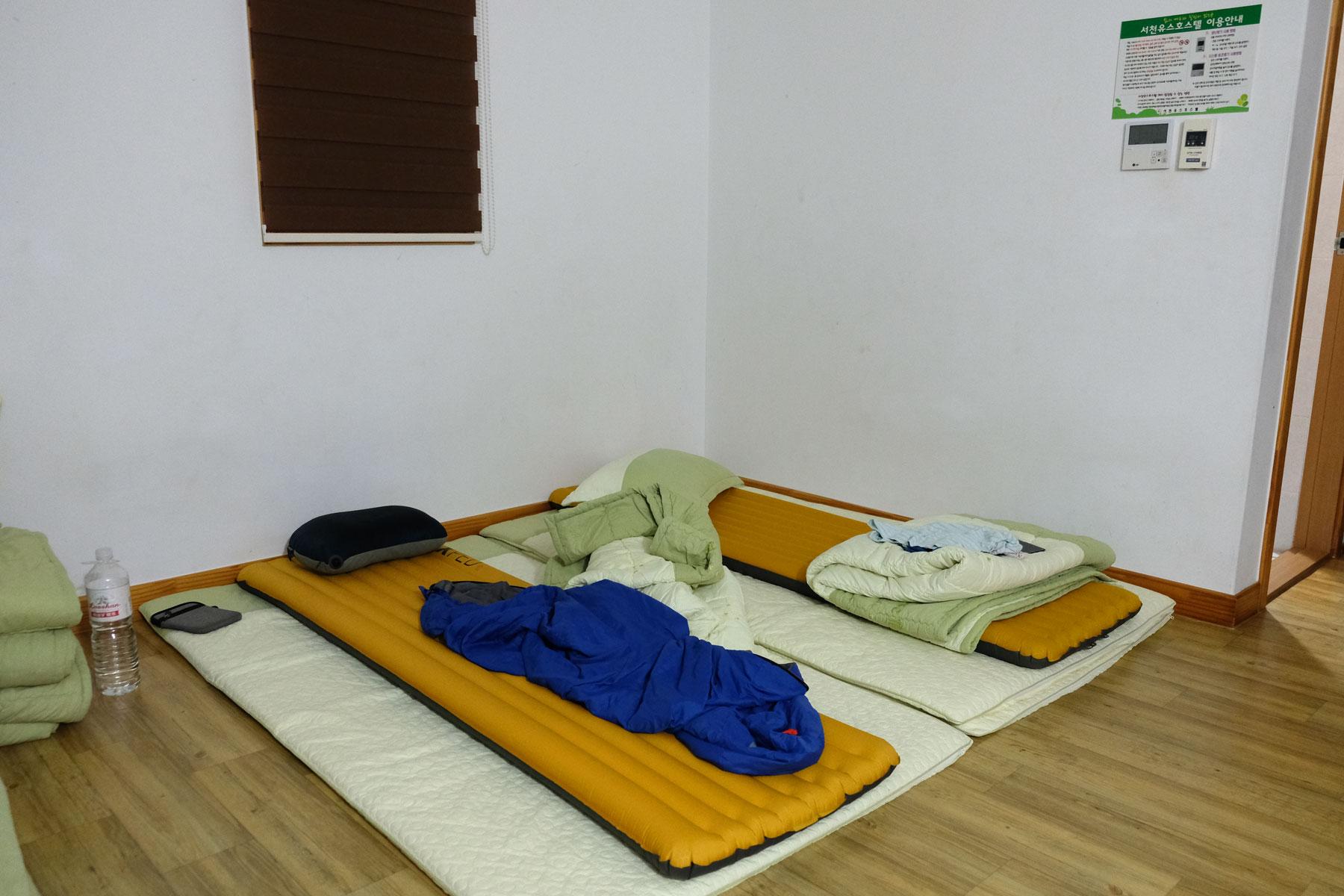 In Südkorea schläft man traditionell auf dünnen Matratzen.
