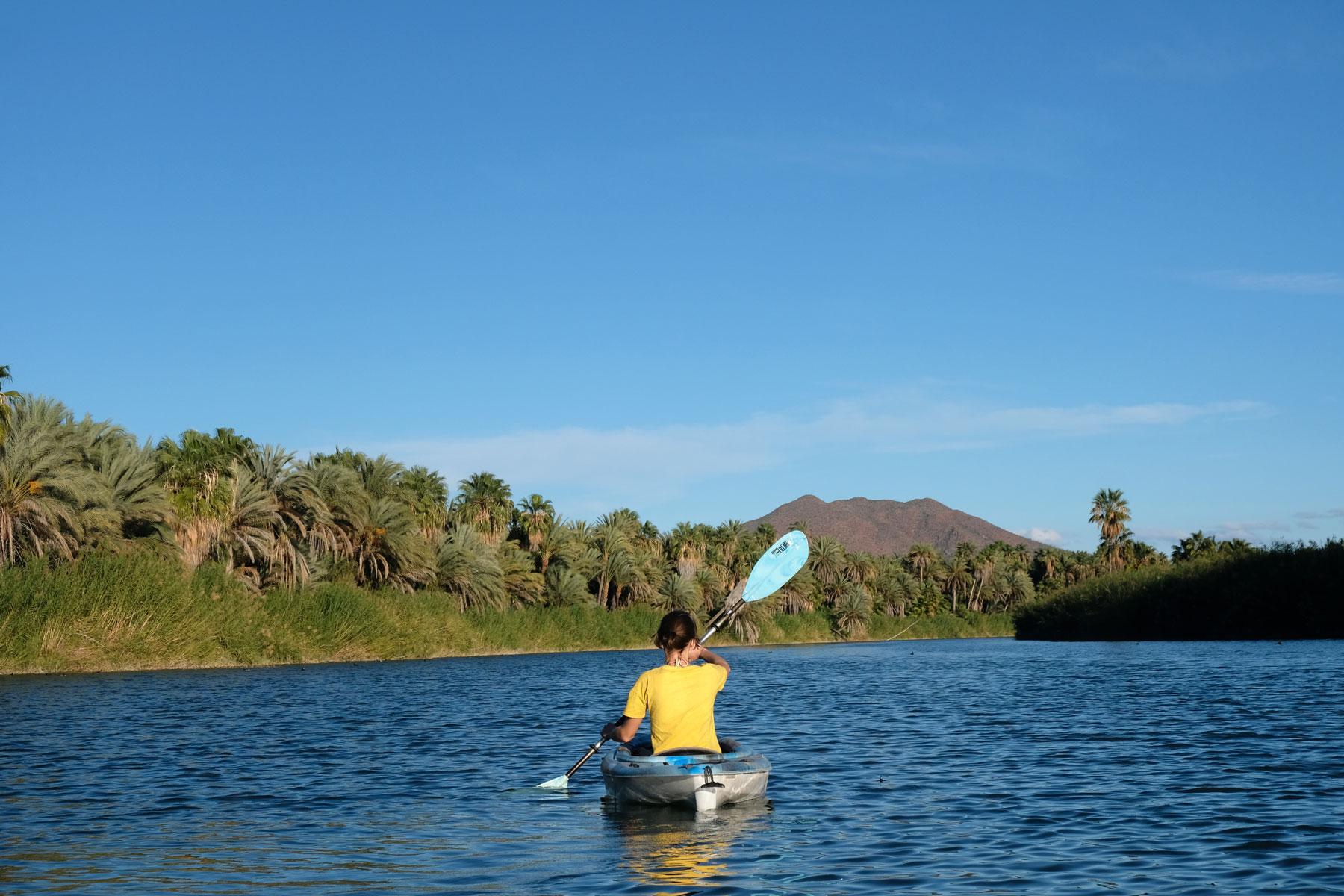 Leo paddelt in der Laguna von San Ignacio.