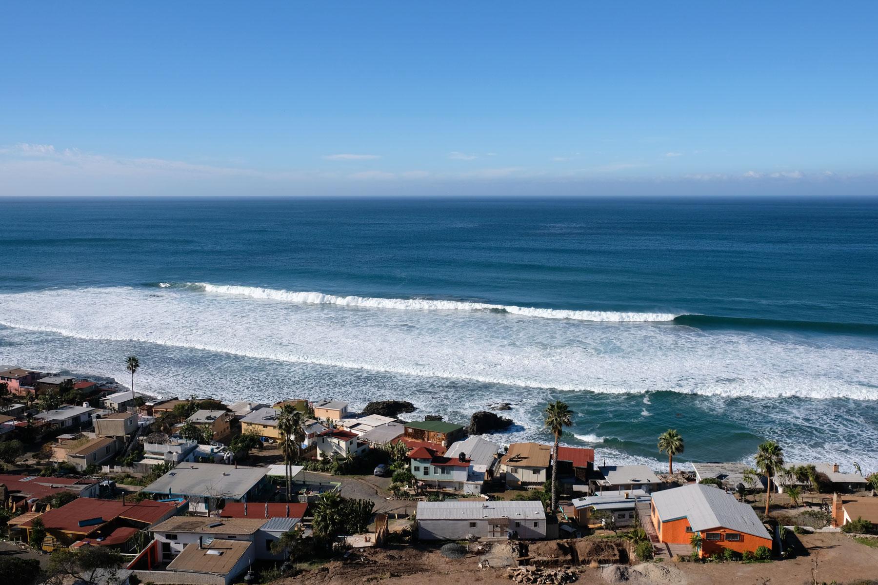 Blick auf das Surfcamp Campo López auf der Baja California.