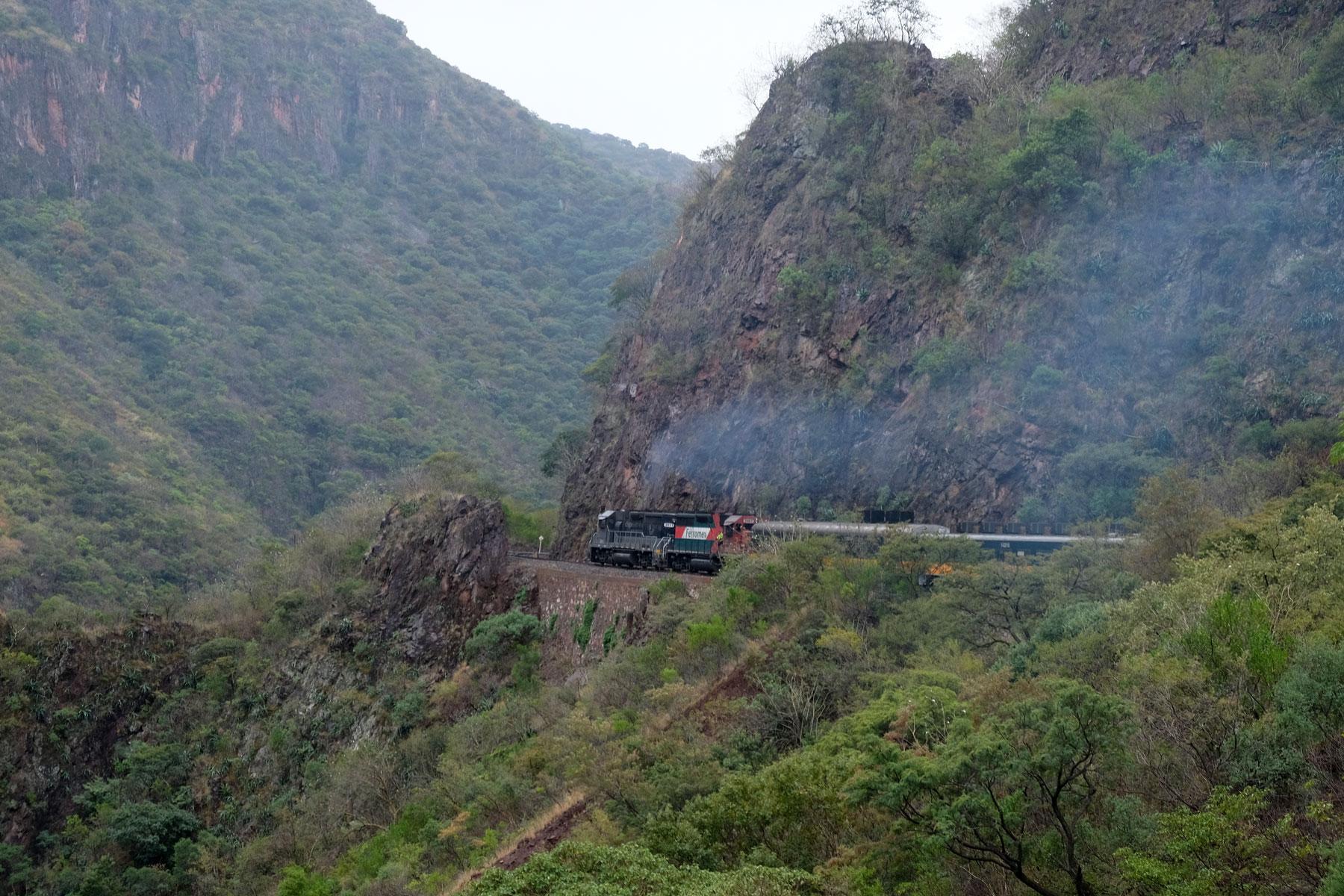 Der Zug Chepe fährt durch die Berge Nordmexikos.