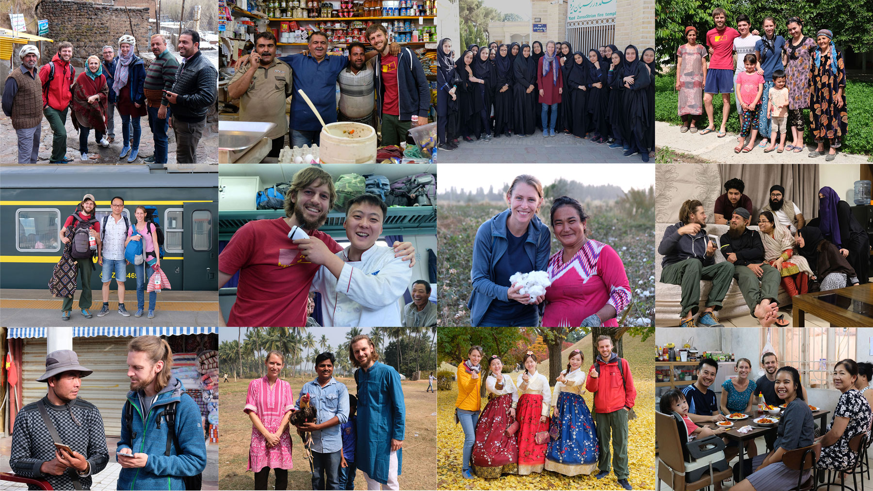 Eine Collage von vielen Begegnungen unserer Weltreise ohne Flugzeug.