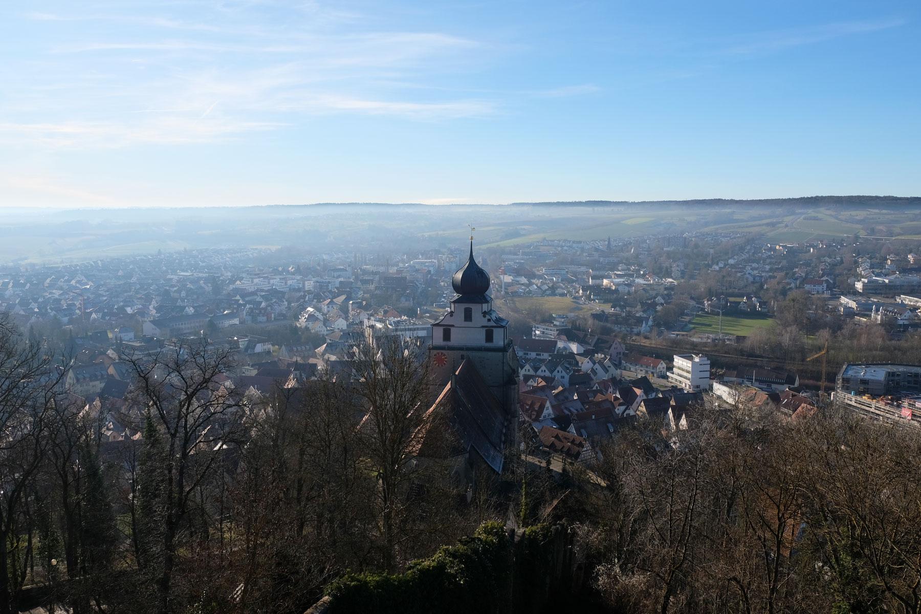 Blick auf die Stiftskirche in Herrenberg.