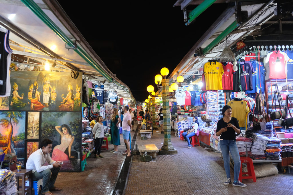 Nächtlicher Souvenirmarkt in Siem Reap.